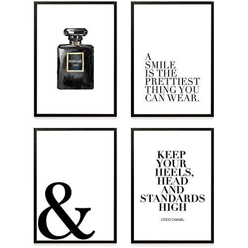 Heimlich ® Premium Poster Set | Stilvolles Set mit passenden Bilder in Schwarz-Weiß | 4 Stück in DIN A4 (21x30cm) | Ohne Bilderrahmen » Coco Perfume «