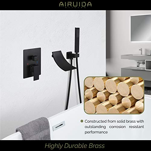 Airuida Wall Mount Bathtub Faucet Matte Black With Handheld Shower Sprayer Waterfall Spout With Modern Single Handle Tub Filler Faucet Hot and Cold Water Mixer Tap Shower