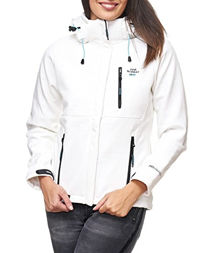 Geographical Norway Tehouda Damen Softshell Jacke Outdoor Übergangsjacke Parka (M, Weiss)