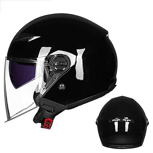 DLPAC Retro Harley Casco,Clásico PU Cuero Open Face Helmet,para Hombres Mujeres Harley Motocicleta Scooter Motoneta Ciclomotor Crucero ECE Homologado