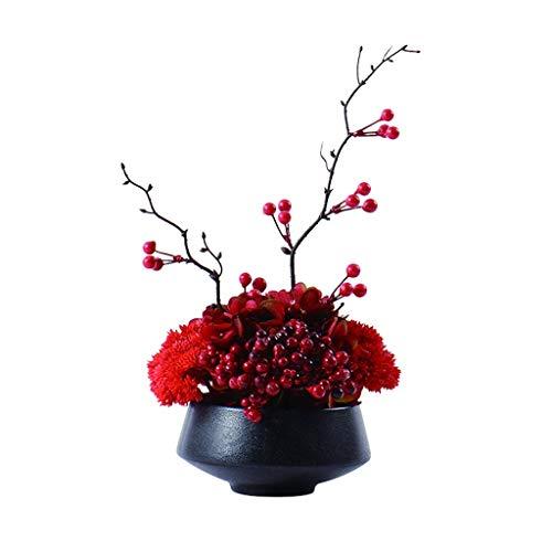 JIN Bonita Decoración Flores Artificiales Flor Artificial Bonsai Flor Roja con Bayas para Exhibición en la Sala de Estar Hotel de Oficina Estilo Simple Estilo Seda Flor Bonsai Flores Falsas,Grande,Gr