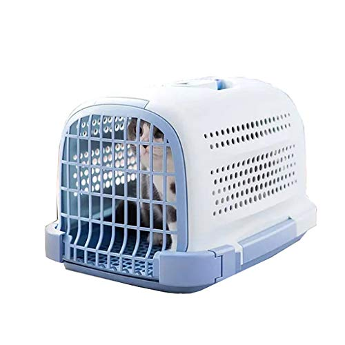 BFSHY Outdoor Dog Kennel,Plastic Travel Dog Crate,Hard-Sided Pet Carriers,360-degree Ventilation,for Extra-Small Dogs, Cats & Other Small Animals,Blue