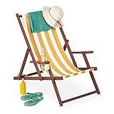 Relaxdays Liegestuhl Tumbona Plegable, Madera y Tela, 3 Posiciones, reposabrazos y Soporte para Bebidas, 120 kg, Color Blanco y Amarillo