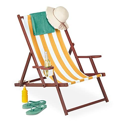 Relaxdays Liegestuhl Tumbona Plegable, Madera y Tela, 3 Posiciones, reposabrazos y Soporte...
