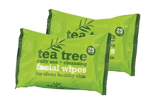 Árbol del Té uso diario limpieza facial maquillaje toallitas, pack de 2, Total 50toallitas