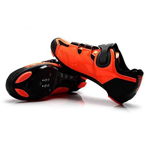 HAOLIN Radschuhe Road Men Rennrad Sportschuhe Rennradschuhe Sneaker Triathlon Fahrradschuhe,Orange-44