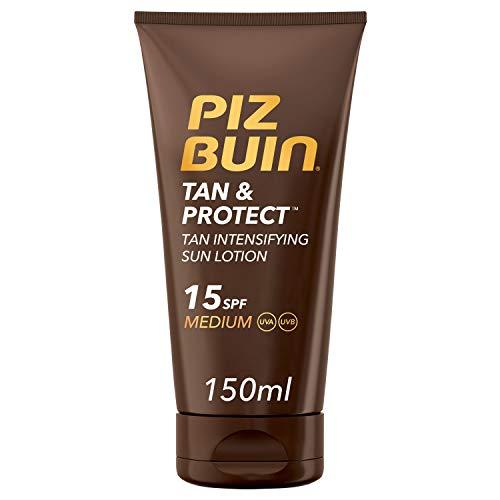 Piz Buin, Protección Solar, Loción Solar Tan & Protect Intensificadora del Bronceado SPF 15 Protección media, Bote 150 ml