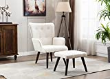 Modern Upholstered AccentChair with Ottoman, Lazy Lounge Comfy Chair for Living Room and Bedroom, Leisure Armchair with Footrest, Linen Fabric (Beige)