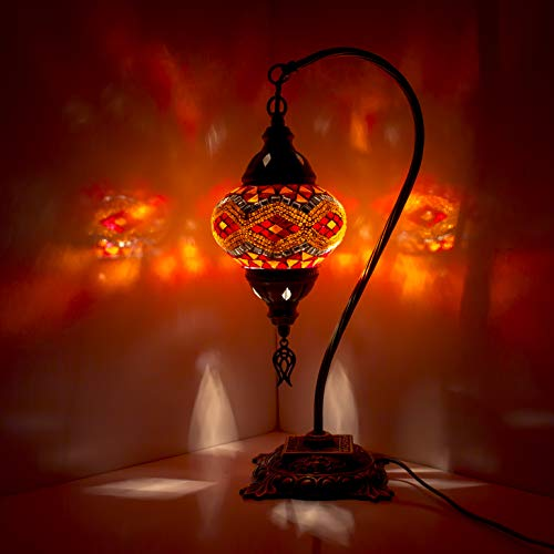 Lámpara de mesa de banqueros de latón antiguo tradicional de mosaico Lámpara de escritorio de vidrio de mosaico turco estilo turco vintage para dormitorio de sala de estar (multicolor)