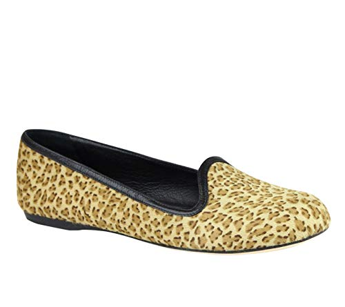 Bottega Veneta Women's Leather/Pony Hair Cheetah Print Flats 338267 8465 (36.5 EU / 6.5 US) Beige