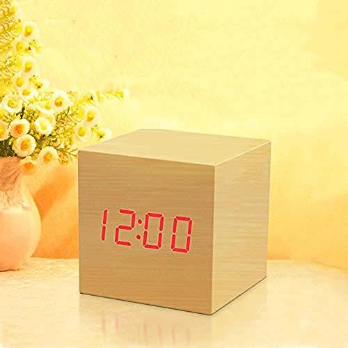 HUSHCH wekker luide bel-Houten Geluid Controle Mini Alarm Klok Vierkant Student Nachtkastje Klok Moderne Elektronische Kleur: Zwart Groen