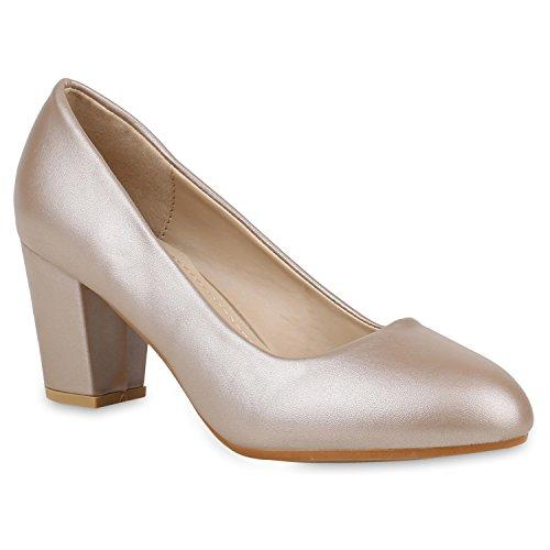 Klassische Damen Pumps Basic Stiletto Mid Heels Leder-Optik Schuhe 152889 Gold 39 Flandell