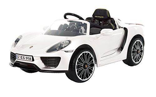 Rollplay Premium elektrische auto met afstandsbediening en achteruitversnelling, voor kinderen vanaf 3 jaar, tot maximaal 35 kg, 12 volt-accu, tot 4 km/h, Porsche 918 Spyder, wit