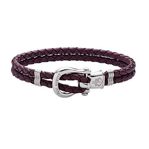PAUL HEWITT Schäkel Armband Damen PHINITY - Leder Armband Frauen (Dark Mauve), Armband Damen mit Schäkel Verschluss aus Edelstahl (Silber)