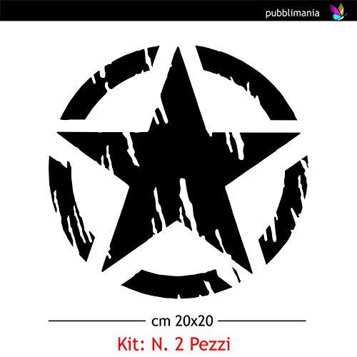 Kit de 2 pegatinas de estrella militar, 21 x 21 cm, para coche, Jeep Renegade, moto, todoterreno, 4 x 4 cm, para laterales o capó (negro)