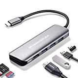 7-in-1 USB-C/Thunderbolt 3 Hub Adapter with 4K HDMI,3 USB 3.0 Ports, SD/MicroSD Card Reader for MacBook Pro 2019/2018/2017,MacBook Air/iPad Pro 2019/2018, XPS/ChromeBook/Spectre/SamsungDex, More-Gray