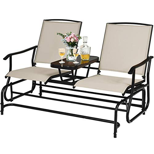 Beige 2 Person Outdoor Swing Glider Bench Loveseat Rocker Rocking Chair Lounger with Tempered Glass Coffee Tea Table Steel Frame Ideal for Garden Patio Lawn Backyard Deck Area Pool Side Use