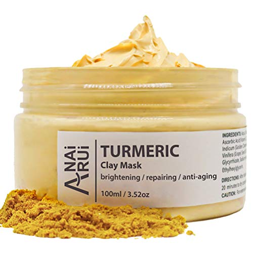 ANAIRUI Turmeric Face Mask, Bentonite Clay Facial Mask with Vitamin C E for Brightening Skin, Ances Control and Refining Pores, Anti-aging 3.52 Oz
