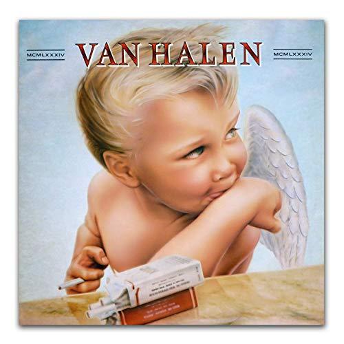 Arte de pared 1984 Van Halen Hard Rock Band portada de álbum carteles e impresiones lienzo pintura para sala de estar decoración del hogar-24x24 pulgadas sin marco
