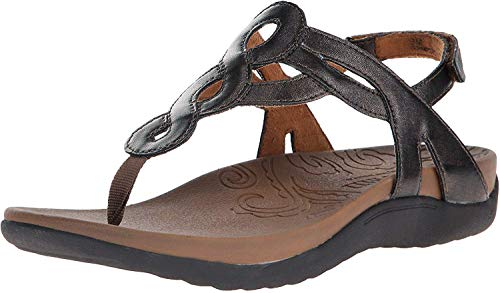 Rockport Cobb Hill Women's Ramona-CH Flat Sandal, Pewter, 7.5 M US