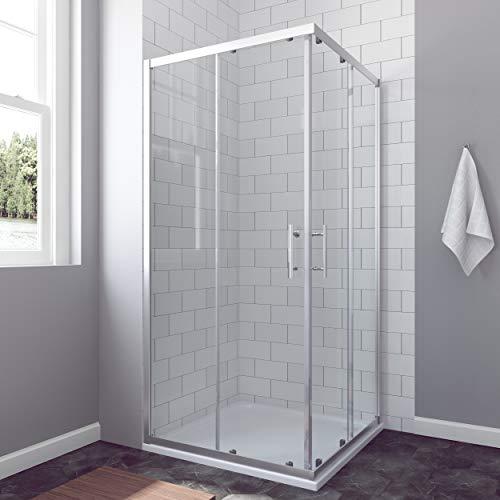AQUABATOS® 80 x 80 cm Duschkabine Eckeinstieg Schiebetür Duschabtrennung Duschwand Glas ESG nach DIN EN 12150 Höhe 185cm
