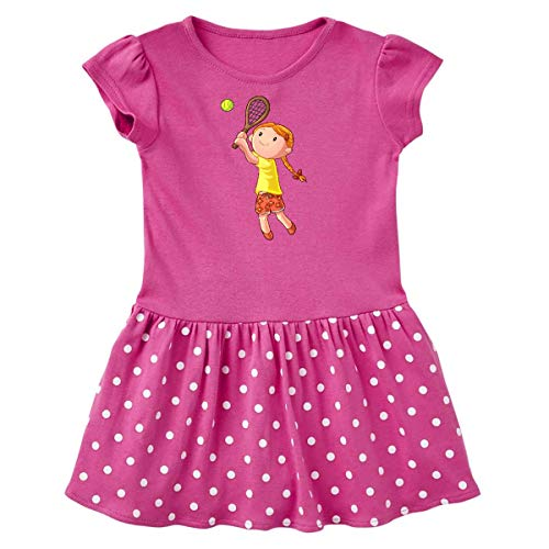 inktastic Girl Playing Tennis Toddler Dress 5-6 Raspberry with Polka Dots 3df35