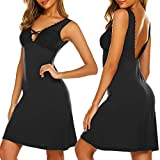Ekouaer Night Gown for Women Sexy Nightdress Lace Sleepwear Babydoll Nighty Sexy Nightgown Black S