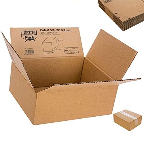 Acan Fixo- Pack de 10 Cajas Multiusos de cartones 30 x 20 x 15 cm, Ideal para mudanza, Empresa Online,Envió Regalo a Familia Amigos etc