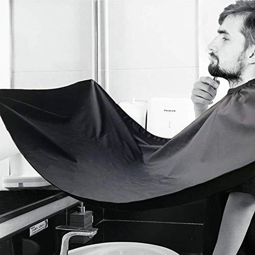 Beard Apron Shaving Hair Catcher - Beard Bib Shaving Catcher for Men, Beard Cape with Suction Cups for Shaping and Trimming, One Size Fits All - Static & Stick Free Fabric, Waterproof, Black