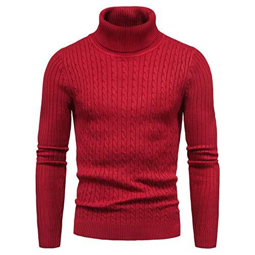 CELANDA Jersey de Punto para Hombre Cálido Delgado Cuello Alto Sweater Pullover Manga Larga Suéter Suave Transpirable Otoño Invierno