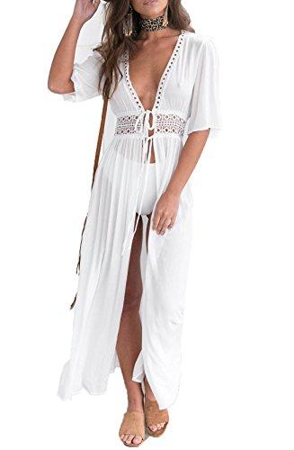 SUNSIOM Women's Chiffon Kimono Cardigan Lace Long Maxi Beach Dress Bikini Covers Up(White,Fits Medium)