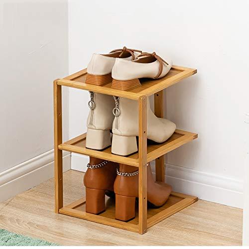 KWOPA Bambú Zapatero,Apilable Organizador Gratuito De Almacenamiento De Estantes De Zapatos De Pie,Ajustable Utilidad Shoes Rack para La Entrada,Pasillo,Armario-Colores primarios 3 Niveles 27x25x37cm
