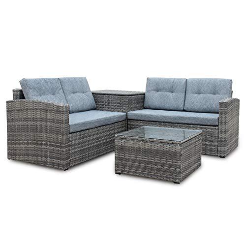 GAOXQ 4-posti Giardino all'aperto mobili in Rattan Set terrazza sofà Angolo Coffee tavolino Scatola di immagazzinaggio Resistenza alle intemperie Rattan Vimini Tessuto Bal