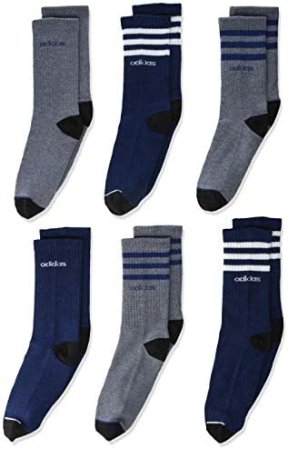 adidas Youth Kids Boy s Girl s 3 Stripes Crew Socks 6 Pair Tech Indigo Blue Legend Ink Blue product image