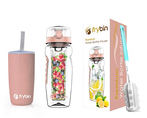 Frybin Fruit Infuser Water Bottle | Removable Infusion Basket for Flavor | Bonus Brush and Sleeve for Freshness | Made of Durable TRITAN Plastic | BPA Free Water Infuser Bottle, 32 Ounce (Rose)
