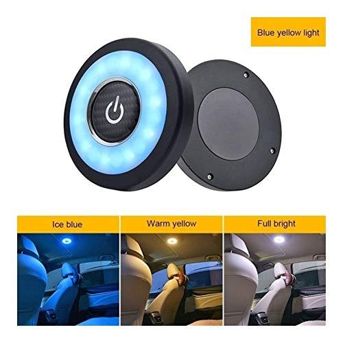 Led USB inalámbrico de techo interior del coche Dome Light Reading de carga USB Imán del techo de la lámpara táctil Tipo de luz de la noche del tronco recargable (Emitting Color : Blue Yellow Light)