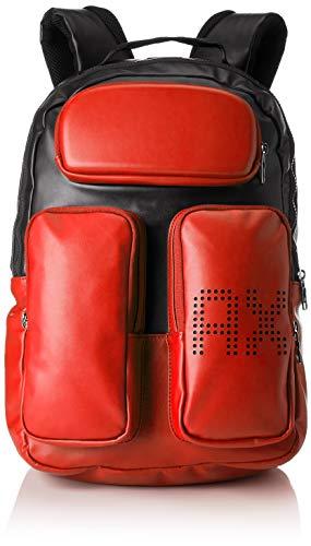 Armani Exchange Pockets Backpack - Zaini Uomo, Arancio(Black/Flame), 28x19x34 cm (B x H T)