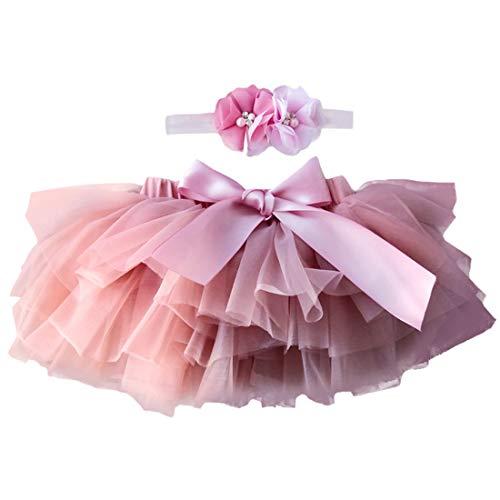YONKINY Baby Mädchen Tutu Rock Prinzessin Tüllrock Minirock Baby Fotoprops Reifrock Ballettrock für Fotografie Geburtstag + Stirnband (Dunkelrosa, Größen S für 0-6 Monate)