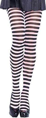 Leg Avenue Damen Strumpfhose quer geringelt schwarz weiß Einheitsgröße ca. 38 bis 40