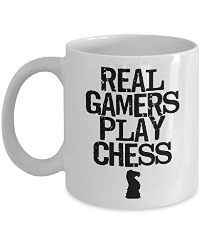 Product Image 1: PixiDoodle Real Gamers Play Chess – Board Game Geek Distressed Coffee Mug (11 oz, White)