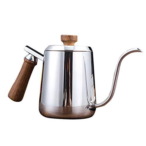 Cafetera, Hervidor De Café con Cuello De Cisne, Hervidor De Café De Acero Inoxidable con Mango De Madera, Tetera, Amantes del Café,350ml
