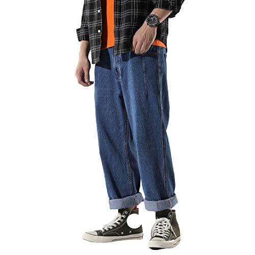Pantalones Vaqueros para Hombre Verano Casual Pantalones Vaqueros de Talla Grande Retro Guapo Recto Vaqueros Sueltos Puntos XL