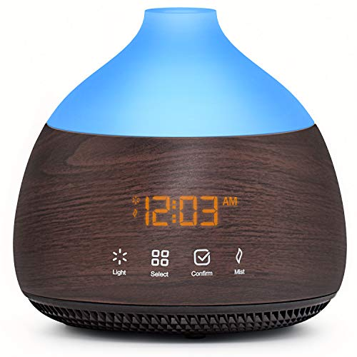 ASAKUKI Essential Oil Diffuser with Alarm Clock, 300ml Cool Mist Humidifier with Touch Screen, Quiet & Humidifying Aromatherapy Diffuser for Bedroom, Office, Baby