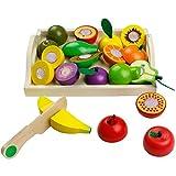 yoptote Frutas y Verduras Juguete para Cortar Frutas Verduras Juguetes Montessori Comida Madera Cocinas de Juguete para Niños Día del Niño Cumpleaños Infantiles