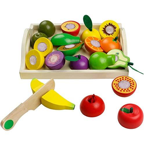 jerryvon Giochi in Legno Taglio Frutta Verdura Bambini Legno Montessori Educativo Giocattoli di Taglio Regalo Perfetto per Bambini 3 4 5 Anni Accessori Cucina 21 Pezzi