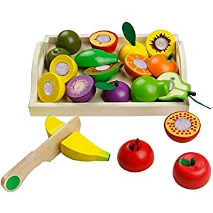 jerryvon Frutas y Verduras Juguete para Cortar Frutas Verduras Juguetes Montessori Comida Madera Cocinas de Juguete para Niños Cumpleaños Infantiles
