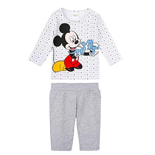 Disney Bebé, recién Nacido niños Mickey Mouse Set: Camiseta, T-Shirt, Manga Larga, Pantalones, Gris, Talla 62, 3 Meses