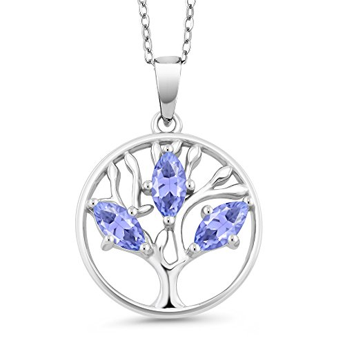Gem Stone King 925 Sterling Silver Gemstone Birthstone Marquise Tree of Life Pendant Necklace For Women With 18 Inch Silver Chain