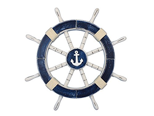 Handcrafted Model Ships Rustic Dark Blue Ship Wheel with Anchor 18' - Anchor Decoration