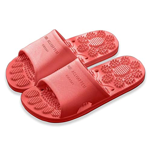 DFFH Zapatillas de masaje Masajeador de pies Sandalias de acupresión para dolor y circulación Fasciitis Plantar Zapatos de ducha Mujer,Rojo,XXL